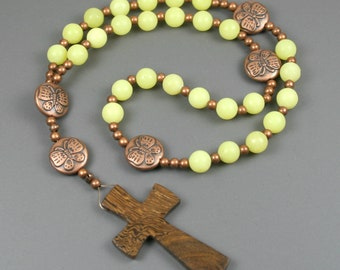 Anglican rosary in olive jade and antiqued copper butterfly beads with a robles wood cross
