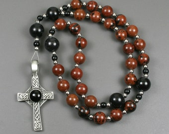 Anglican rosary in mahogany obsidian with a antiqued pewter Celtic cross with a black resin inset, mahogany obsidian rosary, dark red rosary