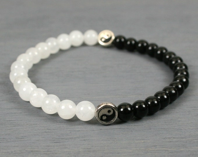 Snow quartz and obsidian stacking stretch bracelet with silver Yin Yang focal beads