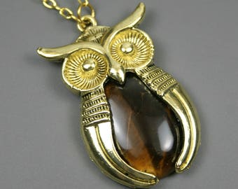 Antiqued gold plated owl pendant with a tiger eye stone inset on brass chain, owl jewelry, tiger's eye pendant, owl necklace