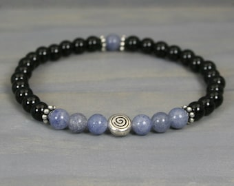 Blue aventurine and obsidian stacking stretch bracelet with a spiral focal bead