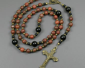Red sesame jasper, obsidian, and antiqued brass rosary in the Roman Catholic style, dark red stone rosary, jasper rosary