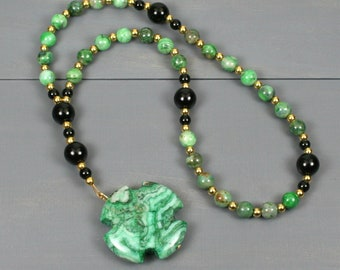 Small Anglican rosary in green crazy lace agate with obsidian and a green crazy lace agate Greek cross