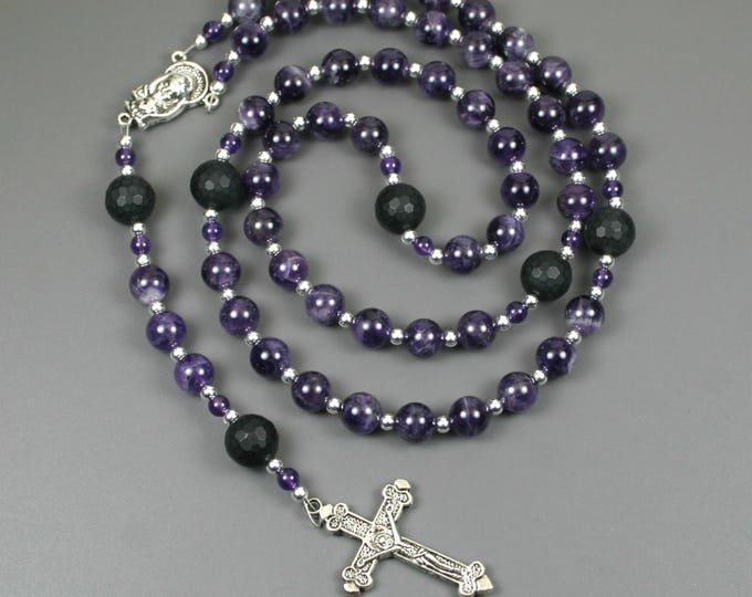 Amethyst, black onyx, and silver rosary in the Roman Catholic style