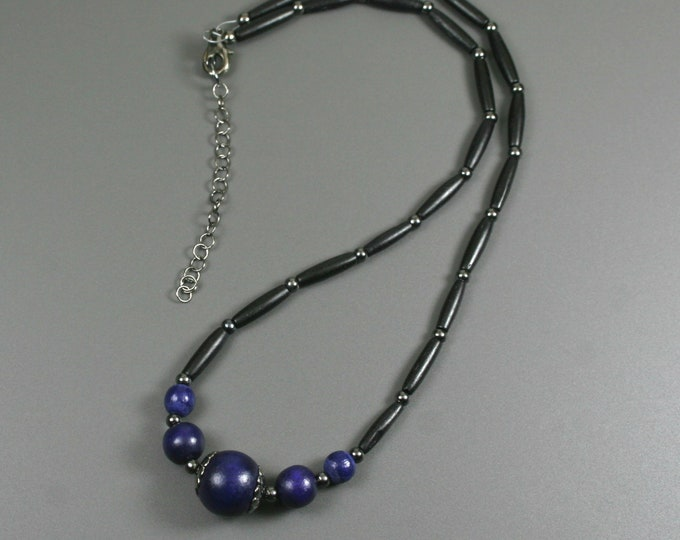Cobalt blue wood and black bone hairpipe necklace with gunmetal accents