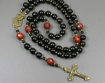Obsidian, poppy jasper and antiqued brass rosary in the Roman Catholic style, obsidian rosary, black rosary, stone rosary, praying Madonna