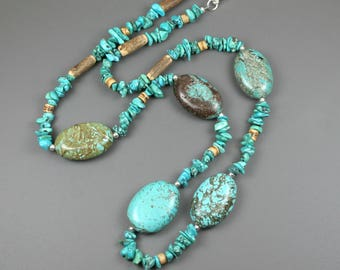 Turquoise magnesite necklace with coconut wood and silver