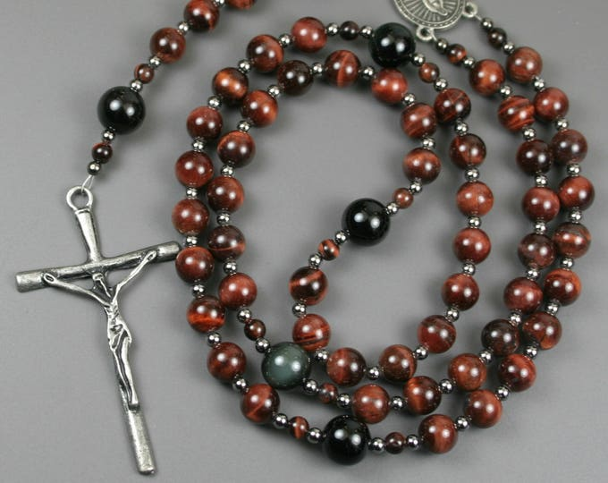 Red tiger eye, rainbow obsidian, gunmetal and pewter rosary in the Roman Catholic style