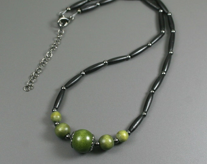 Olive green wood and black bone hairpipe necklace with gunmetal accents