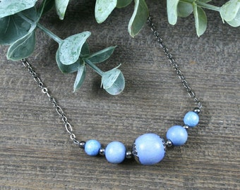 Light blue wood and gunmetal choker necklace