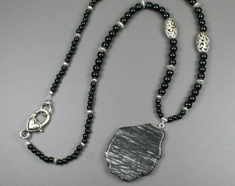 Picasso jasper pendant on a strand of obsidian and silver, black stone pendant, black pendant, black necklace, obsidian necklace