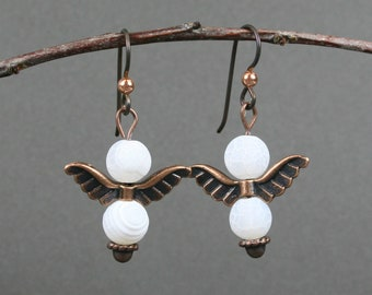 Frosted white crackle agate and antiqued copper angel wings on niobium ear wires, angle earrings, white earrings, copper earrings