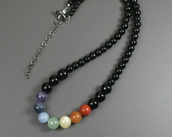 Rainbow stone bead necklace on obsidian strand, LGBT pride necklace, GLBT pride necklace, chakra necklace