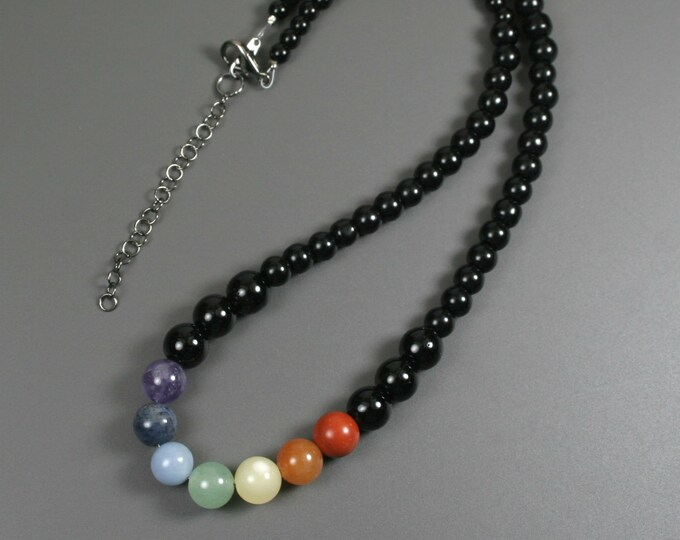 Rainbow stone bead necklace on obsidian strand