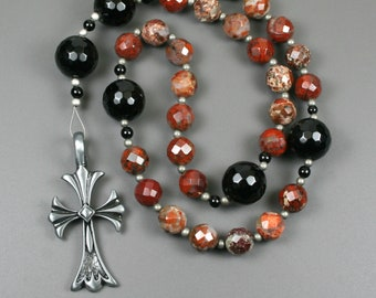 Anglican rosary in poppy jasper, black onyx and an antiqued pewter cross, dark red rosary, stone rosary, protestant rosary
