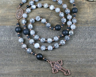 Silver crazy lace agate, black onyx, and antiqued copper rosary in the Roman Catholic style, silver crazy lace agate rosary, stone rosary
