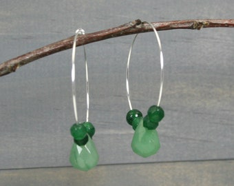 Green aventurine teardrop and faceted green agate earrings on silver plated hoop ear wires, hoop earrings, green earrings