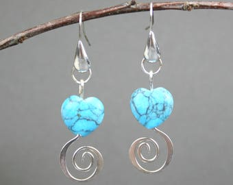 Turquoise magnesite stone heart earrings with silver spirals