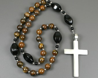Anglican rosary in tiger iron and black onyx with a pewter cross