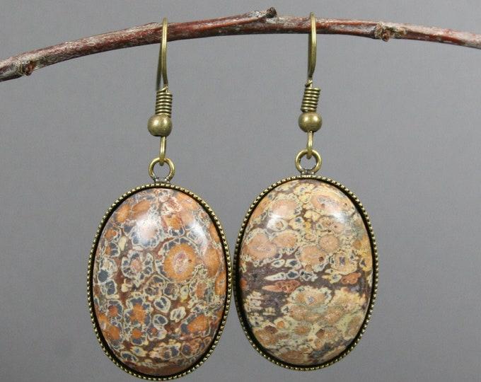 Leopardskin jasper and antiqued brass dangle earrings
