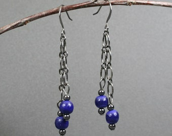 Cobalt blue wood and gunmetal dangle earrings