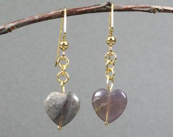 Purple imperial jasper heart dangle earrings with gold plated ear wires, gold earrings, purple earrings, purple heart earrings