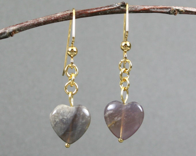 Purple imperial jasper heart dangle earrings with gold plated ear wires
