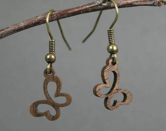 Walnut wood butterfly earrings on bronze ear wires