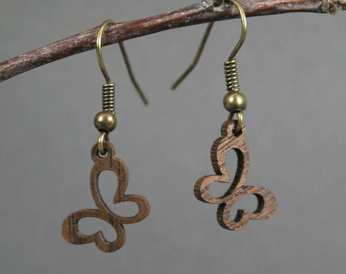 Walnut wood butterfly earrings on bronze ear wires