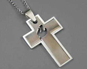 Stainless steel cross pendant with dove cut-out on stainless steel chain
