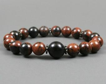 Mahogany obsidian stacking stretch bracelet with buri root accent and blackened metal spacers, mahogany obsidian bracelet