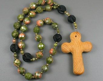 Anglican rosary in unakite, carved ebony wood beads, antiqued brass spacers, and a wood cross, unakite rosary, stone rosary