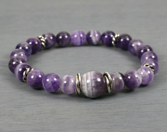 Banded amethyst stacking stretch bracelet with antiqued silver plated twisted spacers