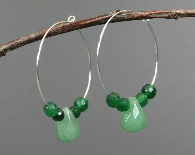 Green aventurine teardrop and faceted green agate earrings on silver plated hoop ear wires
