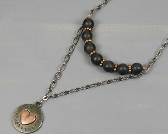 Faith, hope and love double necklace in gunmetal and copper with matte black onyx