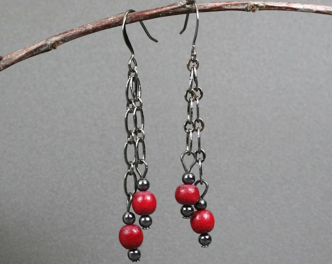 Cranberry red wood and gunmetal dangle earrings