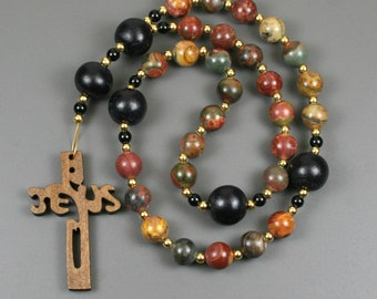 Anglican rosary in red creek jasper, black wood and obsidian with a wooden Jesus cross, wood cross, red creek jasper rosary, stone rosary