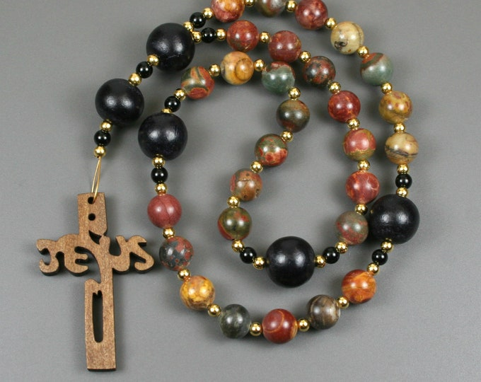 Anglican rosary in red creek jasper, black wood and obsidian with a wooden Jesus cross