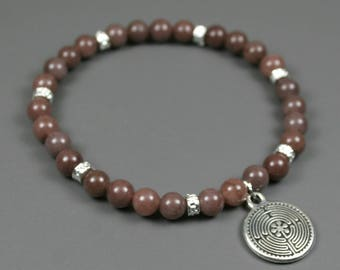 Purple aventurine stacking stretch bracelet with silver plated spacers and labyrinth charm