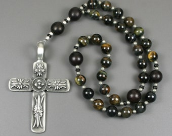 Anglican rosary in blue tiger eye and buri root with an antiqued pewter decorative cross