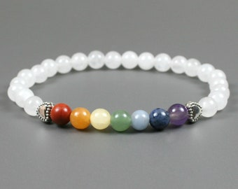 Rainbow stone bead stacking stretch bracelet with hearts and snow quartz beads, chakra bracelet, pride bracelet