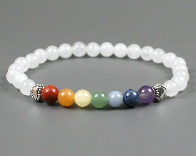 Rainbow stone bead stacking stretch bracelet with hearts and snow quartz beads