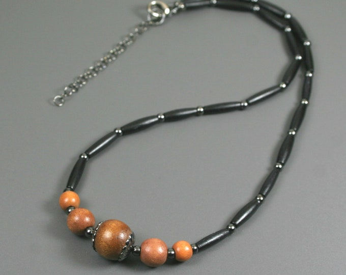 Brown wood and black bone hairpipe necklace with gunmetal accents