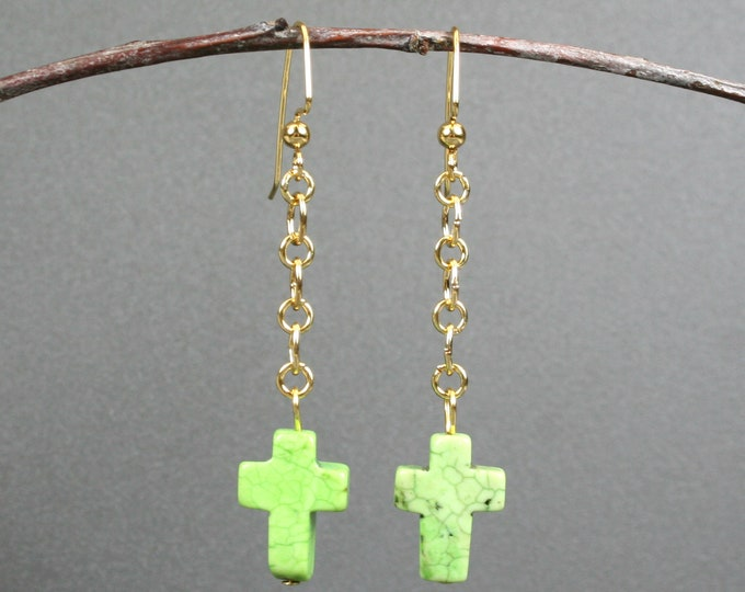 Green magnesite stone cross earrings on gold plated ear wires