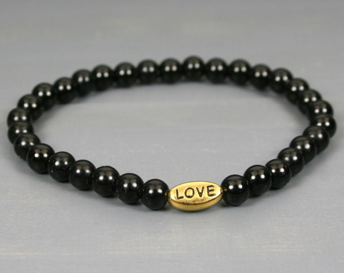 Obsidian stacking stretch bracelet with antiqued gold plated pewter LOVE bead