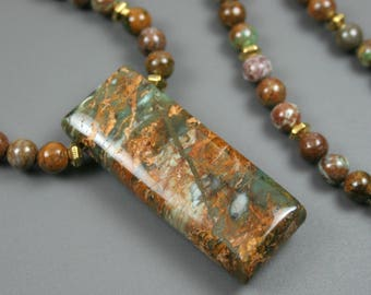 "Green ""opal"" pendant on a strand of green ""opal"" and antiqued gold plated spacer beads, earth tones necklace, green opal necklace"