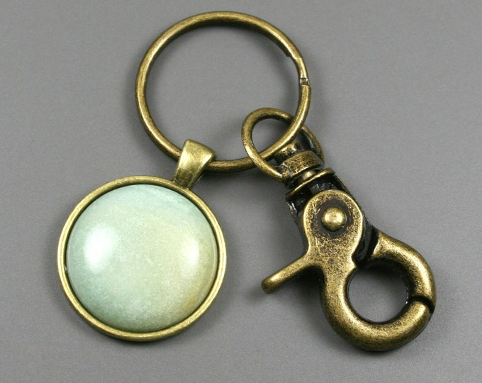 Amazonite key chain in an antiqued brass setting with swivel lobster claw