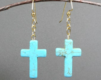 Turquoise howlite stone cross earrings on gold plated ear wires, blue cross earrings, turquoise howlite earrings, turquoise howlite crosses