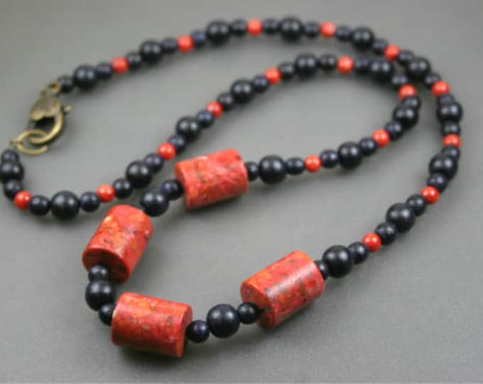 Sponge coral, black wood, and bamboo coral necklace