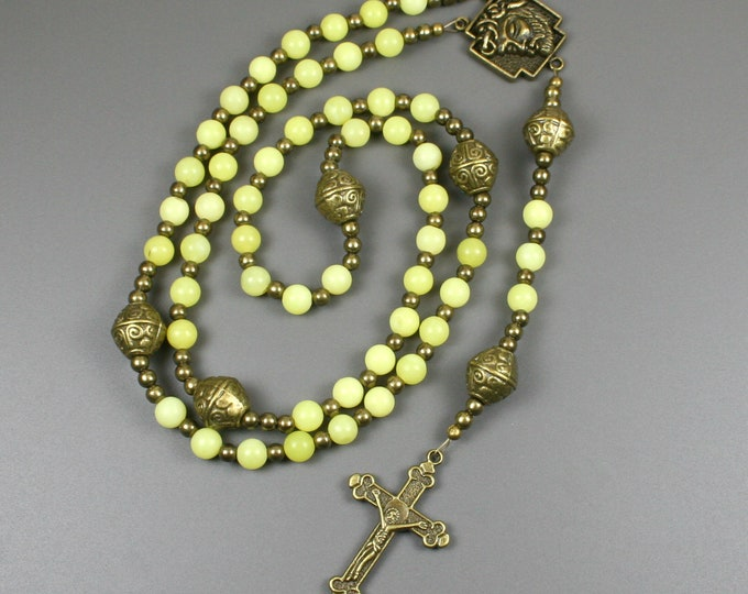 "New olive ""jade"" and antiqued brass rosary in the Roman Catholic style"